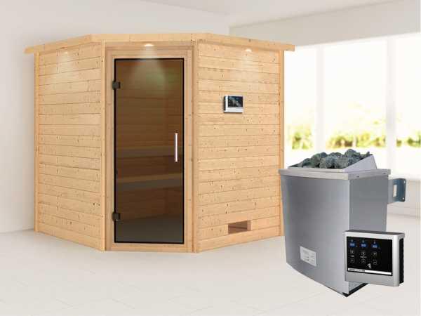 Sauna Massivholzsauna Nina mit Dachkranz, graphit Ganzglastür + 9 kW Saunaofen mit ext. Strg