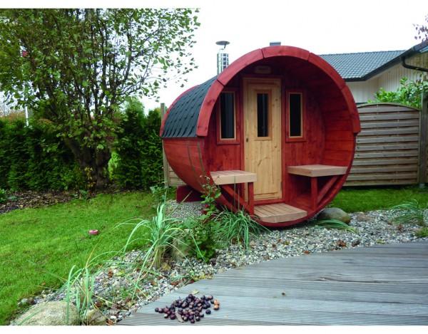 Saunafass 250 komplett montiert 42 mm naturbelassen inkl. Dachschindeln rot