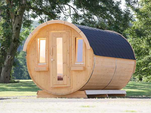 """Campingfass """"393 2-Raum"""" naturbelassen, komplett montiert, inkl. Dachschindlen schwarz"""