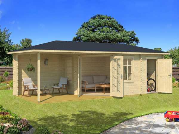 Gartenhaus Blockbohlenhaus Aruba 3A 40 mm naturbelassen