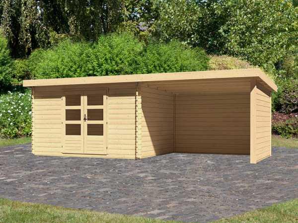 Gartenhaus BBH SET Bastrup 7 28 mm naturbelassen, inkl. 3,0 m Anbaudach + Seiten- und Rückwand