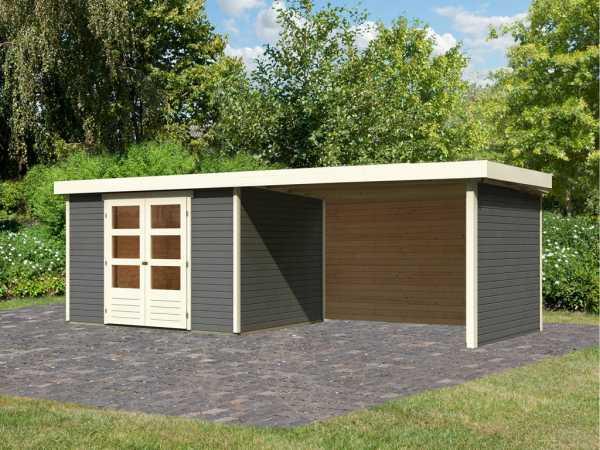 Gartenhaus SET Askola 5 19 mm terragrau, inkl. 2,8 m Anbaudach + Seiten- und Rückwand