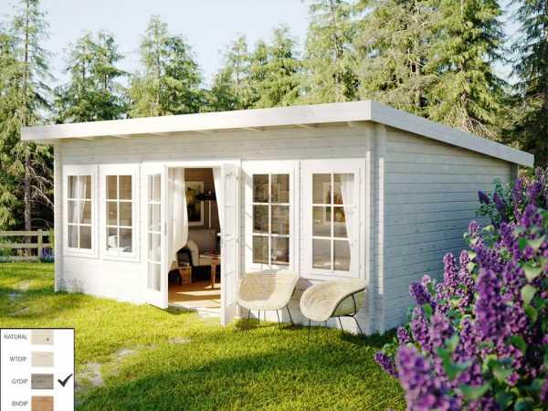 "Gartenhaus Blockbohlenhaus ""Lisa"" 19,4 m² 44 mm grau tauchimprägniert"