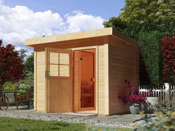 Saunahaus Suva Z mit Holztür, inkl. 9 kW Ofen mit integrierter Steuerung