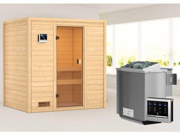 """Sauna """"Selena"""" mit bronzierter Glastür + 9 kW Bio-Kombiofen ext. Strg."""