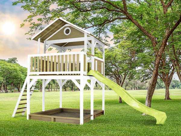 Spielturm Woody braun/weiß mit grüner Rutsche