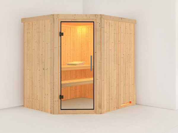 Sauna Systemsauna Siirin Klarglas Ganzglastür
