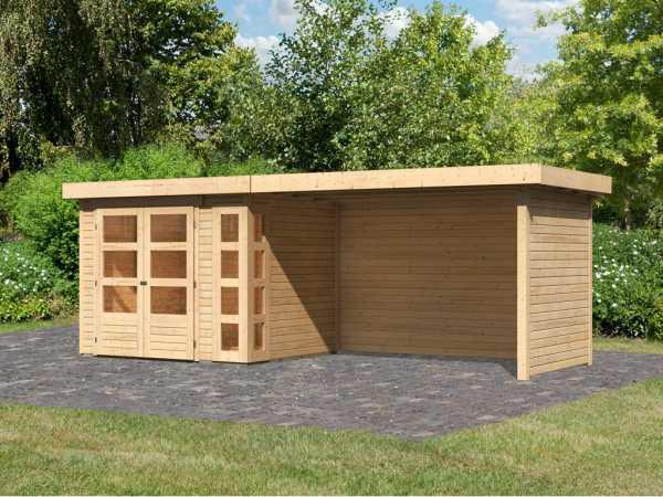 Gartenhaus SET Kerko 3 19 mm naturbelassen, inkl. 2,8 m Anbaudach + Seiten- und Rückwand
