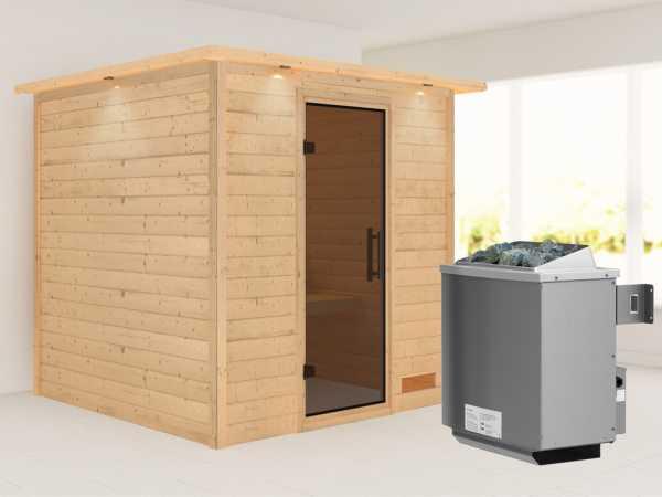 """Sauna Massivholzsauna """"Nora"""" graphit Ganzglastür + 9 kW Saunaofen mit Steuerung"""