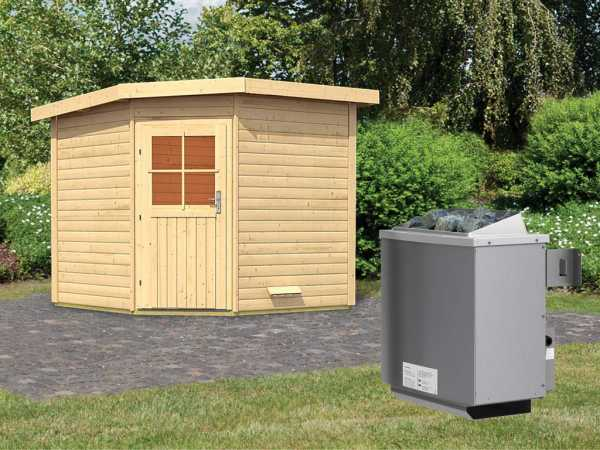 Saunahaus Hilda mit Holztür, inkl. 9 kW Saunaofen mit integrierter Steuerung