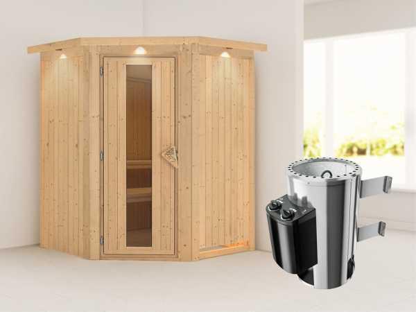 """Sauna Systemsauna """"Nanja"""" mit Dachkranz, Energiespartür + Plug & Play Saunaofen mit Steuerung"""