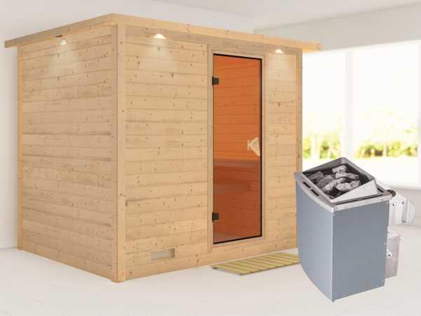 Massivholzsauna Sonara mit Dachkranz, bronzierte Ganzglastür, inkl. 9 kW Ofen integr. Steuerung