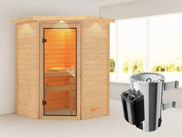 Sauna Massivholzsauna Alicja mit Dachkranz, inkl. Plug & Play Saunaofen Steuerung