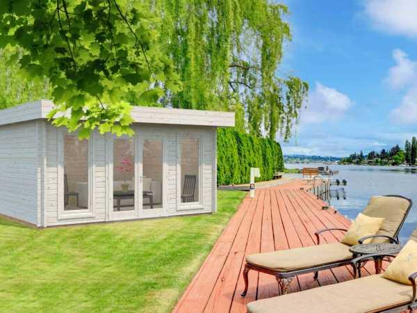 Gartenhaus Blockbohlenhaus Bret 14,8 m² 44 mm transparent tauchimprägniert