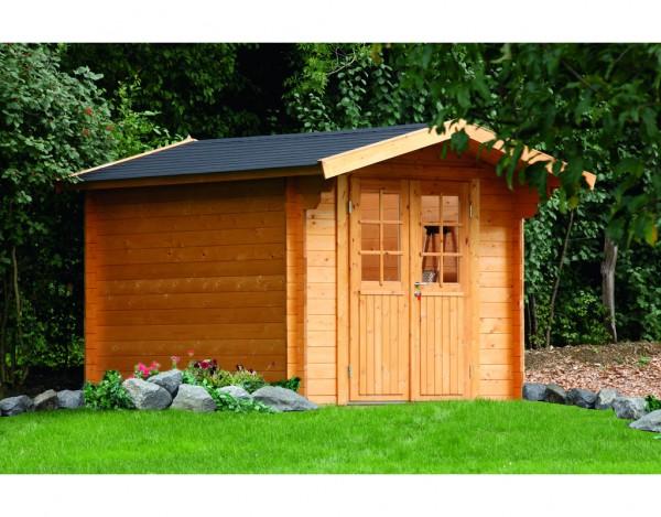Gartenhaus Blockbohlenhaus Britta 34-C 34 mm naturbelassen