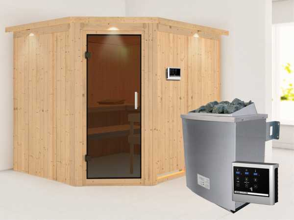 Systemsauna Malin mit Dachkranz, graphit Ganzglastür, inkl. 9 kW Saunaofen ext. Steuerung
