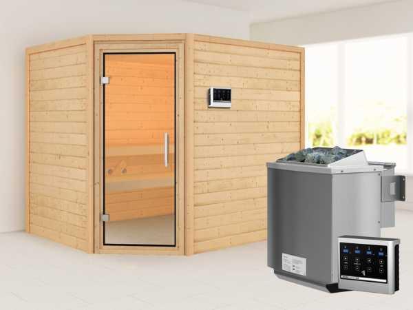 Sauna Lisa mit Klarglastür + 9 kW Bio-Kombiofen mit ext. Strg.