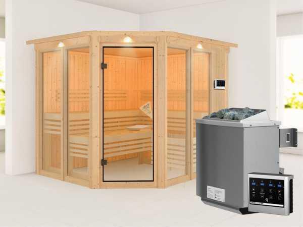 Sauna Ainur mit bronzierter Glastür und Dachkranz + 9 kW Bio-Kombiofen ext. Strg. + Zubehör