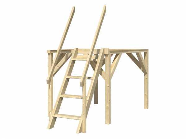 Stelzen für Kinderspielhaus Nele, 4 Pfosten inkl. Leiter