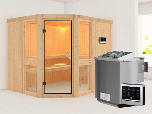 Sauna Systemsauna SPARSET Biwa inkl. 9 kW Bio-Kombiofen mit ext. Steuerung, bronzierte Glastür