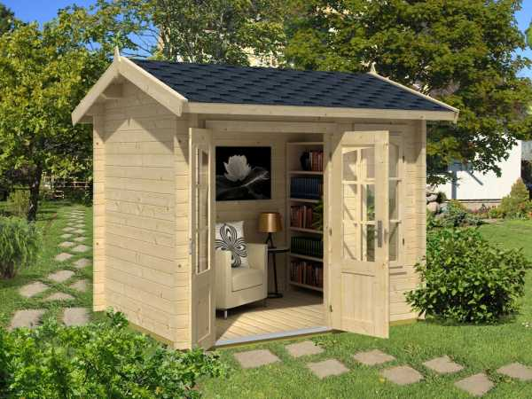 Gartenhaus Blockbohlenhaus Alex Mini 44 mm lichtgrau