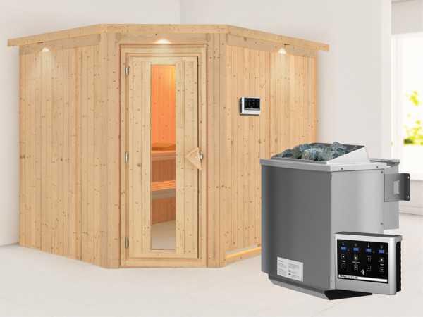 Systemsauna Malin mit Dachkranz, Holztür mit Isolierglas, inkl. 9 kW Bio-Kombiofen ext. Steuerung