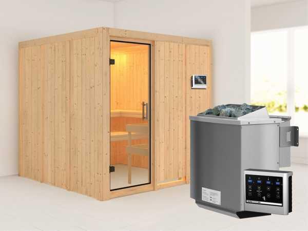 Sauna Systemsauna Rodin Klarglas Ganzglastür + 9 kW Bio-Kombiofen mit ext. Strg