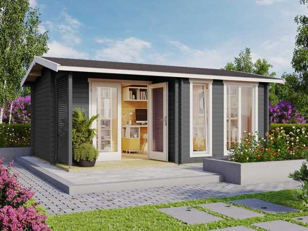 Gartenhaus Blockbohlenhaus Brighton 44 44 mm carbongrau