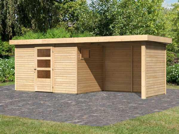 Gartenhaus SET Oburg 4 19 mm naturbelassen, inkl. 2,8 m Anbaudach + Seiten- & Rückwand