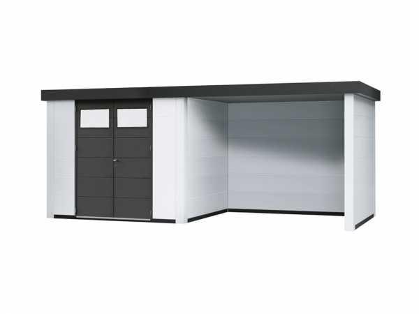 Gerätehaus Eleganto 3024 mit Loungeanbau rechts Weiß
