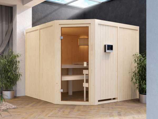 Sauna Systemsauna Celine 7 Eckeinstieg Doppelliege energiesparend