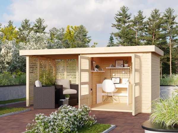 Gartenhaus SET Askola 3 19 mm naturbelassen, inkl. 2,4 m Anbaudach + Lamellenwänden