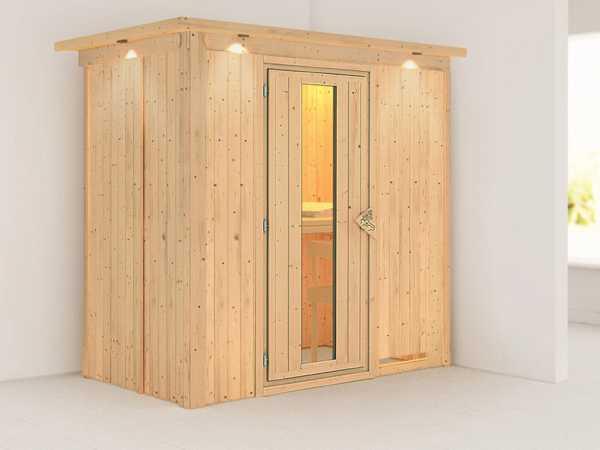 Systemsauna Variado mit Dachkranz, Holztür mit Isolierglas