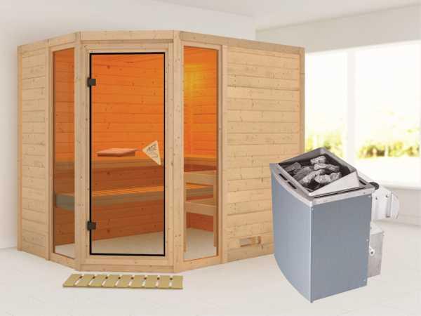 Sauna Massivholzsauna Sinai 3 inkl. 9 kW Saunaofen integr. Steuerung