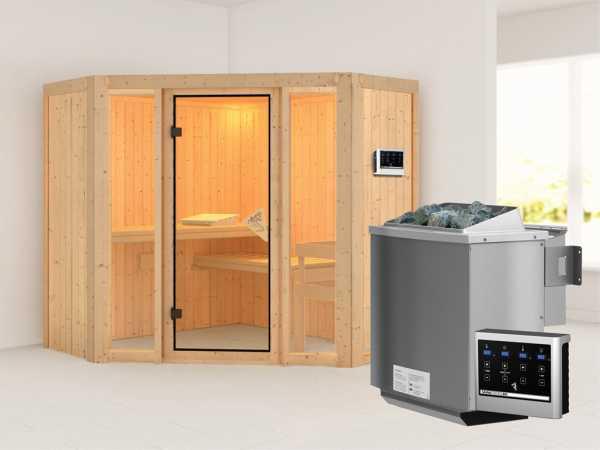 Sauna Systemsauna Flora 1 inkl. 9 kW Bio-Kombiofen ext. Steuerung