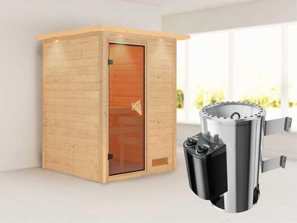 Sauna Massivholzsauna Nadja mit Dachkranz, inkl. Plug & Play Saunaofen Steuerung