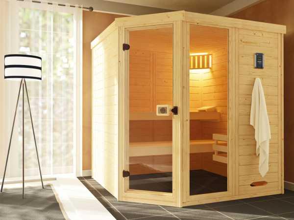 Sauna Massivholz-Elementsauna Laukkala 3 GTF graphit Ganzglastür und Fensterelement