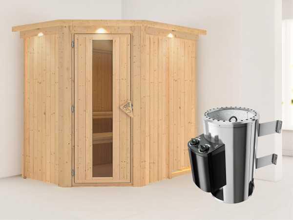 Sauna Systemsauna Saja mit Dachkranz, Energiespartür + Plug & Play Saunaofen mit Steuerung