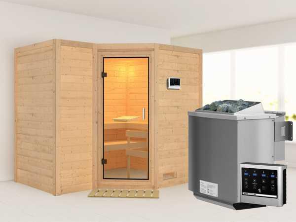"""Sauna Massivholzsauna SPARSET """"Abalone 2"""" inkl.9 kW Bio-Kombiofen mit ext. Steuerung, bronz. Glastür"""