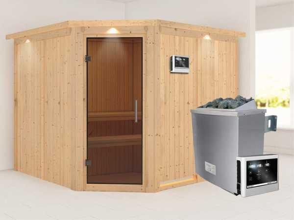 """Sauna Systemsauna """"Farin"""" mit Dachkranz, graphit Ganzglastür + 9 kW Saunaofen mit ext.Strg"""