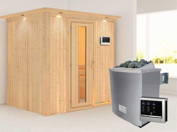 """Systemsauna """"Bodin"""" mit Dachkranz, Holztür mit Isolierglas, inkl. 9 kW Saunaofen ext. Steuerung"""