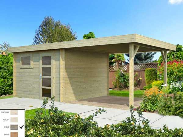"Gartenhaus Blockbohlenhaus ""Elsa"" 8,7+8,1 m² 28 mm grau tauchimprägniert"