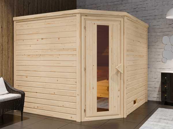 """Sauna Systemsauna """"Bergen 8"""" Holztür mit Isolierverglasung inkl. 9 kW Saunaofen mit ext. Steuerung"""