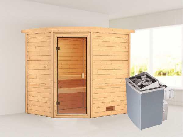 """Sauna """"Elea"""" mit bronzierter Glastür + 9 kW Saunaofen integr. Strg."""