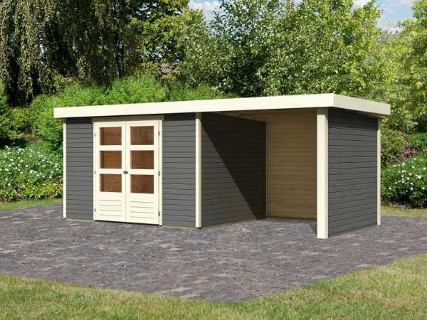 Gartenhaus SET Askola 5 19 mm terragrau, inkl. 2,4 m Anbaudach + Seiten- und Rückwand