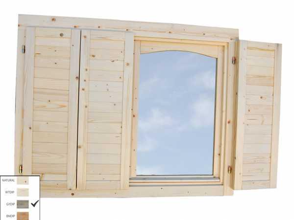 Fensterläden für Einzelfenster 44 mm grau tauchimprägniert