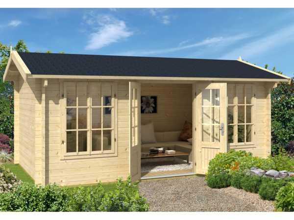 Gartenhaus Blockbohlenhaus Pembrokeshire 53 44 mm carbongrau