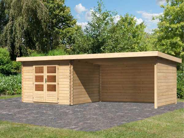 Gartenhaus Blockbohlenhaus SET Bastrup 5 28 mm naturbelassen, inkl. 4 m Anbaudach + Seiten-/Rückwand