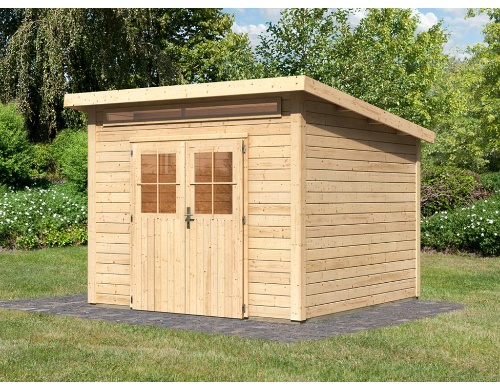 karibu woodfeeling linau 7 preisvergleich gartenhaus. Black Bedroom Furniture Sets. Home Design Ideas