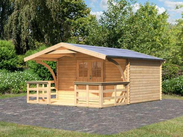 Gartenhaus Blockbohlenhaus Mühlheim 5 40 mm naturbelassen, inkl. Vordach + Terrasse